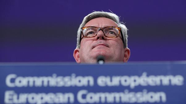 FILE PHOTO: European Commissioner for the Security Union Julian King holds a news conference at the EC headquarters in Brussels, Belgium October 30, 2019.