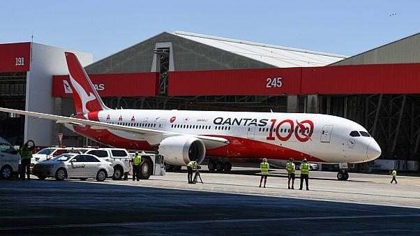 طائرة طراز بوينغ 9 ـ 787  دريملاينر التابعة لشركة كانتاس الاسترالية