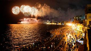 Fireworks lit up the sky over Havana