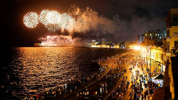Fireworks lit up the sky over Havana