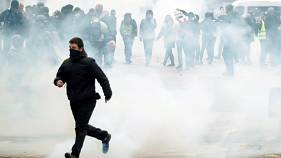 Police fired tear gas in Paris on Saturday.