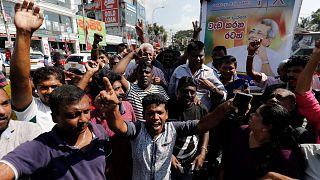 Sostenitori del partito del Fronte poolare di Gotabaya Rajapaksa