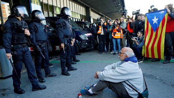 Вокзальный протест в Каталонии