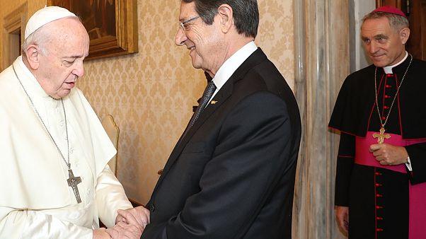 Ο  Προέδρος της Κυπριακής Δημοκρατίας κ. Νίκος Αναστασιάδης σε συνάντηση  με τον Πάπα Φραγκίσκο