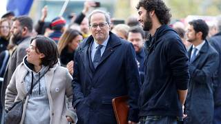 Catalan regional leader Quim Torra (C) arrives to appear before a judge at the High Court of Justice of Catalonia in Barcelona, Spain, November 18, 2019.