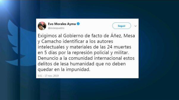 """Evo Morales: """"Crimini contro l'umanità in Bolivia nella repressione del dissenso"""""""