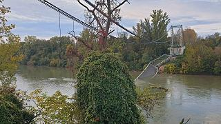 A view shows the collapsed Mirepoix-sur-Tarn bridge in France, November 18, 2019, in this image obtained from social media.