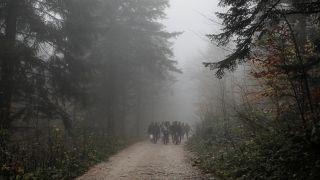 File photo of migrants crossing into Croatia from Bosnia on November 14.