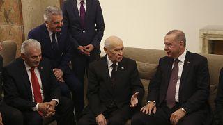Türkiye Cumhurbaşkanı Recep Tayyip Erdoğan TBMM'de MHP Genel Başkanı Devlet Bahçeli ile bir araya geldi