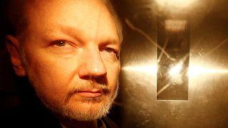 Julian Assange, le 1 mai 2019, après sa condamnation à cinquante semaines de prison par un tribunal britannique. Londres, 1/5/2019