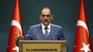 Cumhurbaşkanlığı Sözcüsü İbrahim Kalın, Cumhurbaşkanlığı Külliyesi'nde basın toplantısı düzenledi.  ( Halil Sağırkaya - Anadolu Ajansı )