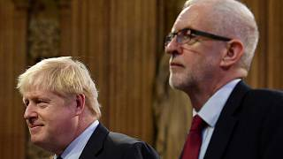Britain's Prime Minister Boris Johnson and main opposition Labour Party leader Jeremy Corbyn.