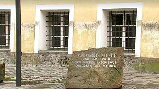 A memorial stone outside Hitler's former home in Braunau Am Inn, Austria