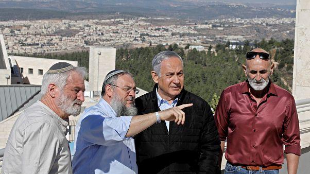 Israeli Prime Minister Benjamin Netanyahu meets heads of regional councils in Jewish settlements at the Alon Shvut settlement, in the Gush Etzion block