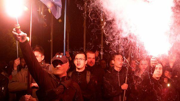 Szélsőjobb aktivisták Kijevben