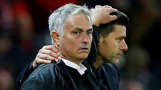 José Mourinho, a Manchester United és Mauricio Pochettino, a Tottenham vezetőedzője 2018-ban