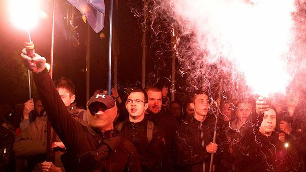 Extreme right activists in Kiev, Ukraine