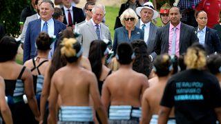 الأمير تشارلز وزوجته كاميلا خلال زيارتهما لويتانجي في نيوزيلندا - 2019/11/20 -