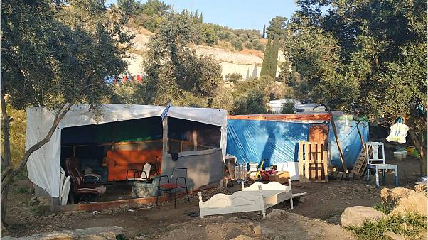 A refugee camp in Greece which will be replaced with a closed detention centre