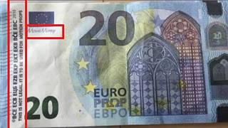 One of the fake bank notes highlighted by French police