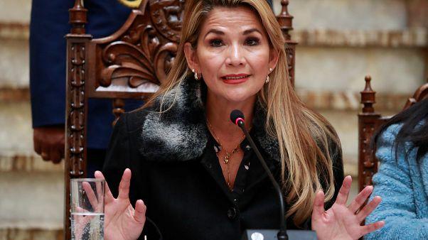 La presidenta interina de Bolivia Jeanine Áñez