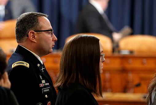 Lt. Col. Alexander Vindman testify at House Intelligence Committee hearing on Trump impeachment inquiry on Capitol Hill in Washington