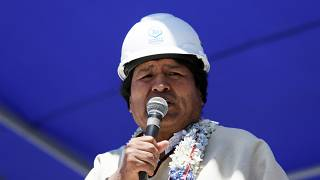 FILE PHOTO:  Evo Morales speaks during the inauguration of the industrial plant developed by Bolivia to produce lithium, in Llipi on the salt lake of Uyuni, Potosi, Bolivia