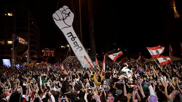 محتجون لبنانيون في العاصمة اللبنانية بيروت