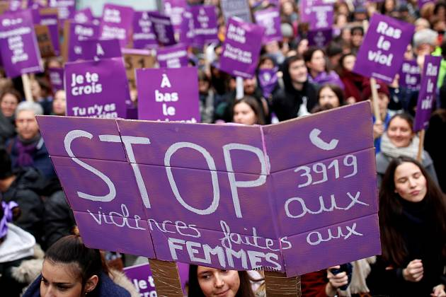 Protesters in France condemn violence against women