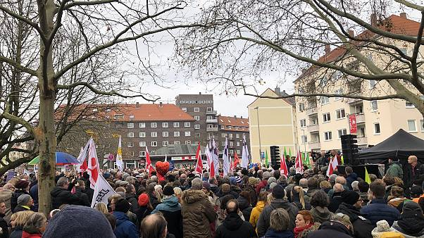 Far-right NDP extremists were vastly outnumbered by counter-protesters in Hannover, Germany