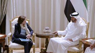 من اللقاء بين بارلي وولي عهد أبوظبي الأمير محمد بن زايد آل نهيان