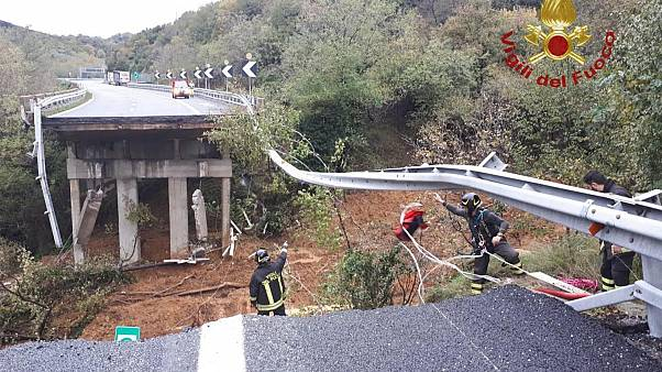 The A6 bridge near Savona, Italy was swept away by a mudslide