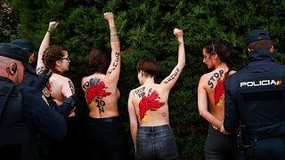Femen aktivistleri diktatör Franco yanlısı yürüyüşü protesto etti