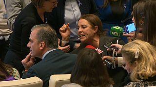 Una víctima de violencia machista se enfrenta a la ultraderecha en un acto en Madrid