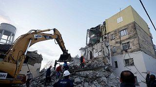 Bâtiment effondré à Thumana suite à un tremblement de terre, le 26 novembre 2019