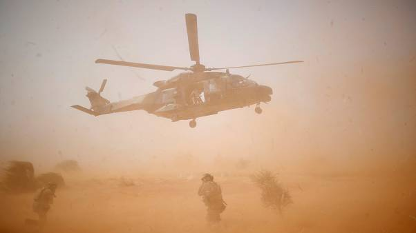 A NH 90 Caiman military helicopter takes-off during the regional anti-insurgent Operation Barkhane in Inaloglog, Mali, October 17, 2017.