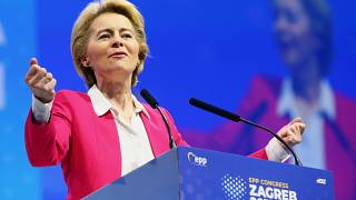 EU Commission President Ursula von der Leyen speaks during the EPP congress in Arena Zagreb hall in Zagreb, Croatia November 20, 2019.