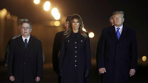 الرئيس الأمريكي دونالد ترامب، والسيدة الأولى ميلانيا ترامب، ونائب وزير الدفاع ديفيد نوركويست- أرشيف رويترز