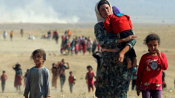شماری از اقلیت ایزدی عراق در سال ۲۰۱۴ به سوی مرز سوریه میروند