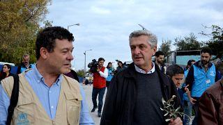 Ο Ύπατος Αρμοστής του ΟΗΕ για τους πρόσφυγες Φίλιππο Γκράντι επισκέπτεται καταυλισμούς προσφύγων στη  Μυτιλήνη