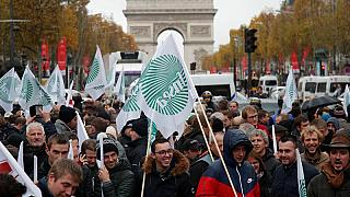 Gli agricoltori a Parigi, davanti all'Arc de Triomphe.