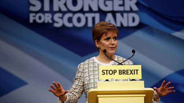 Scotland's First Minister and National Party (SNP) leader Nicola Sturgeon speaks during the party's manifesto launch in Glasgow, Britain, November 27, 2019.