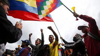 Ambiente festivo en la segunda jornada de paro nacional en Colombia