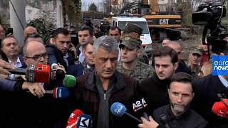 Kosovan president caught up in aftershock when visiting Albanian earthquake victims