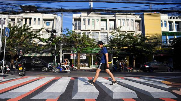 Thailand's 'floating' pedestrian crossing forces drivers to stop