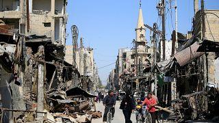 Suriye'nin başkenti Şam yakınlarındaki Duma kasabası, 23 Nisan 2018