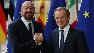 تشارلز ميشيل الرئيس الجديد للمجلس الأوروبي ودونالد توسك الرئيس المنتهية ولايته للمجلس الأوروبي