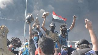 متظاهرون في الناصرية في العراق