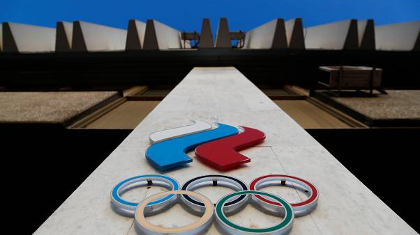 Logo of Russia's Olympic Committee is seen on its building in Moscow, Russia November 23, 2019.