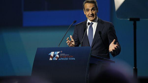 Ο πρόεδρος της Νέας Δημοκρατίας και πρωθυπουργός Κυριάκος Μητσοτάκης, μιλάει στο 13ο Συνεδριο της Νέας Δημοκρατίας